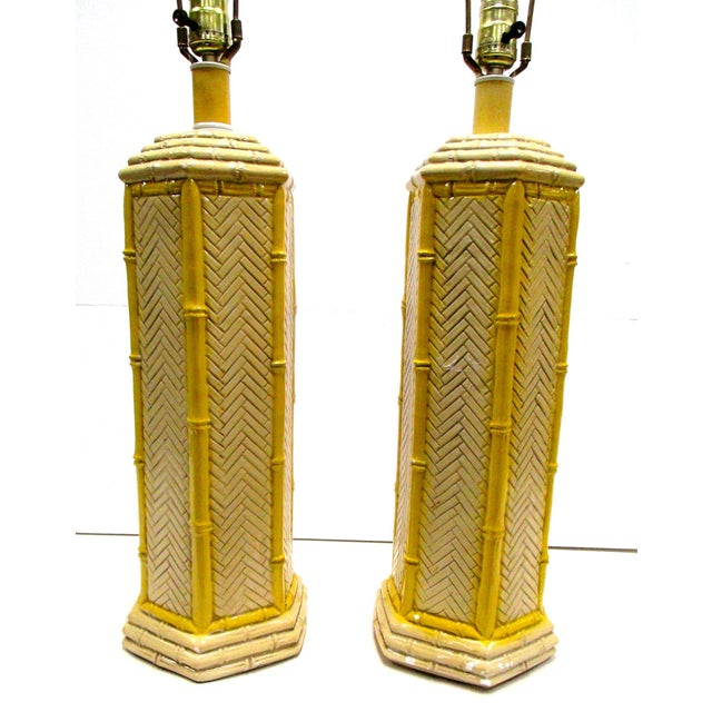 Pr Vintage Yellow Porcelain Faux Bamboo Lamps - a Pair - Image 4 of 4