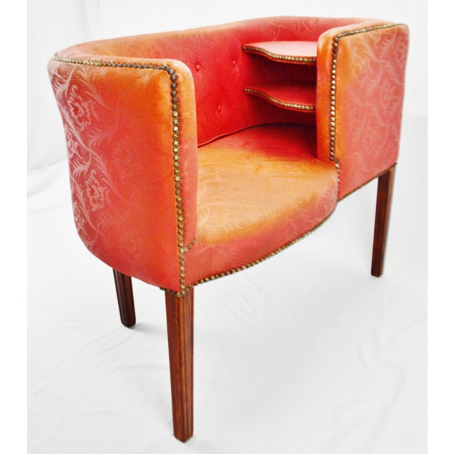 Vintage Red Jacquard Vinyl Barrel Back Gossip Bench Telephone Chair Hall Bench For Sale - Image 4 of 13