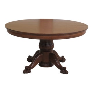 Antique Victorian Oak Round Clawfoot Dining Room Table For Sale