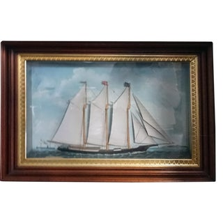 1850s Antique Victorian Ship Diorama For Sale
