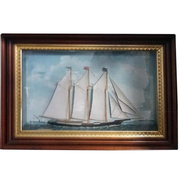 1850s Antique Victorian Ship Diorama For Sale