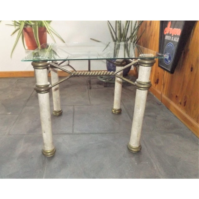 Hollywood Regency Glass Top Coffee Table With Brass Trim For Sale - Image 11 of 11