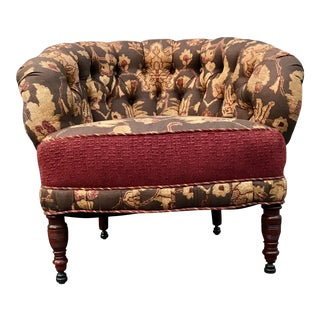 19th Century Mahogany Button Tufted Tub Chair For Sale