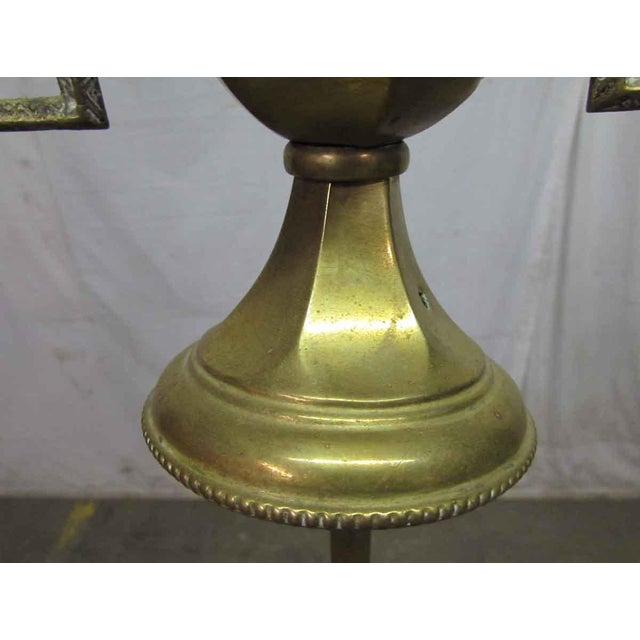 Rustic Turn of the Century Brass Standing Lamp For Sale - Image 3 of 9