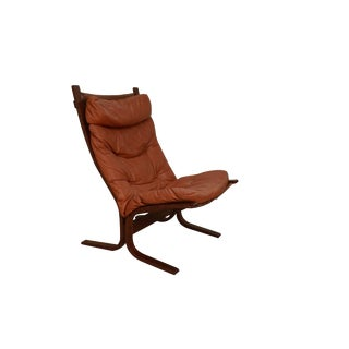 "Mid Century ""Siesta"" Leather Lounge Chair by Ingmar Relling for Westnofa For Sale"
