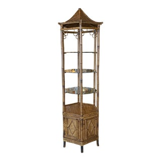 Vintage Pagoda Rattan Bamboo Etagere Display Shelf Glass Shelves Cabinet Bottom For Sale
