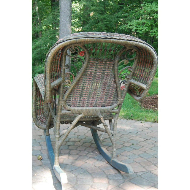 Beaded Green & Red Woven Wicker Rocker For Sale - Image 4 of 8
