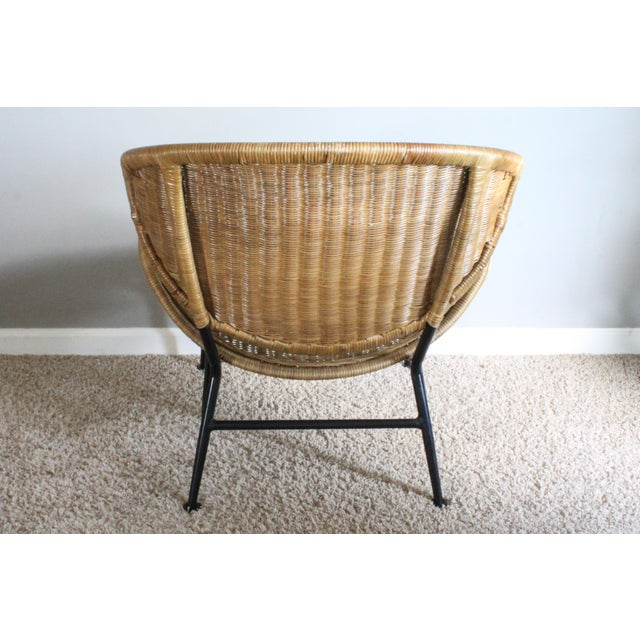 """Maurizio Tempestini Salterini Style Whicker """"Orbit"""" Shell Chair For Sale - Image 4 of 10"""
