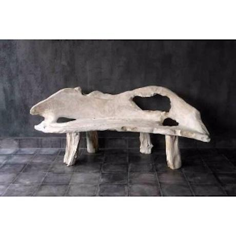 Boho Chic Weathered Teak Root Bench For Sale - Image 3 of 3