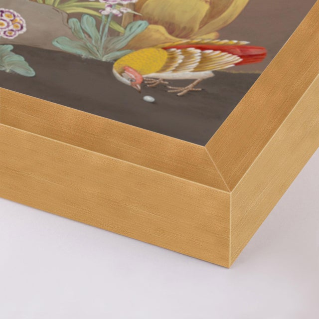 Contemporary Forest & Pheasants by Allison Cosmos, Set of 3, in Gold Framed Paper, Large Art Print For Sale - Image 3 of 9