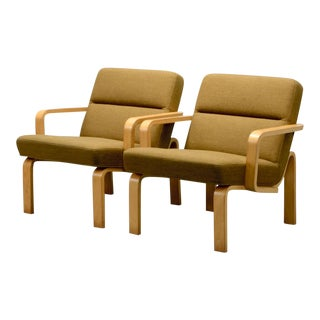 Mid-Century Danish Plywood and Mustard Fabric Lounge Chairs by Rud Thygesen for Magnus Olesen, 1970s For Sale