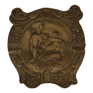 1910 Art Nouveau Bronze Ashtray With Smoking Nude For Sale