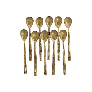 French Gold-Tone Ice Cream Spoons - Set of 10 For Sale