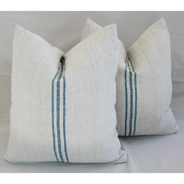 Blue Stripe French Grain Sack Pillows - Pair - Image 6 of 11