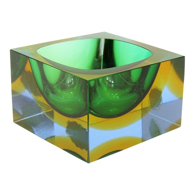 Italian Mandruzzato Murano Tri-Color Glass Bowl - Image 1 of 11