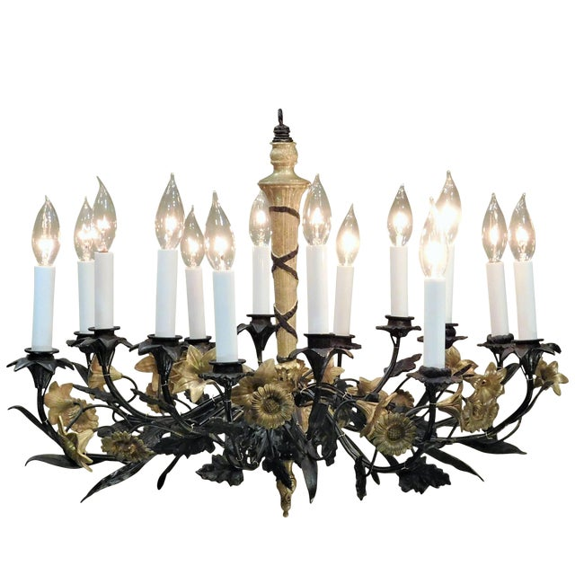 Neoclassical Style Foliate 14-Light Chandelier, France Circa 1905 For Sale