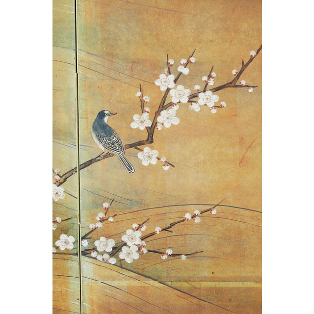Japanese Edo Style Four-Panel Spring Landscape Screen For Sale - Image 10 of 13