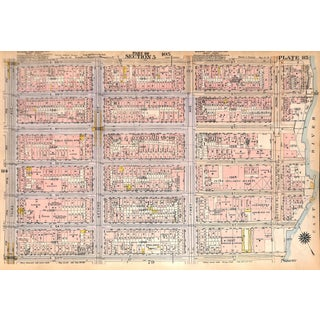 Nyc Map, East Side Lenox Hill, E. 53rd Thru E. 59th St., West Side, Hudson River, W. 59th Thru W. 65th St., 1927 (Pl. 85-86) For Sale