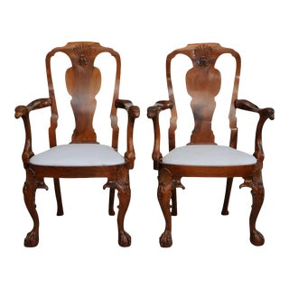 Fine Pair of George II Padouk Armchairs, Anglo-Indian For Sale