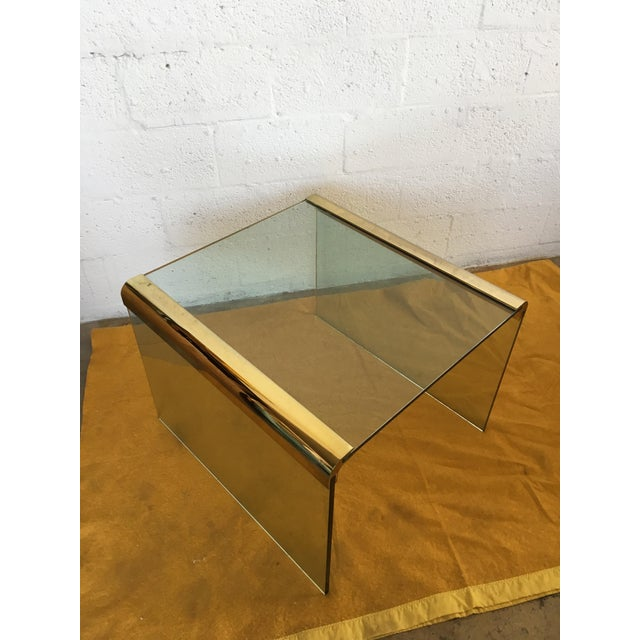 Vintage Leon Rosen Glass and Brass End Table for Pace Collection - Image 2 of 10