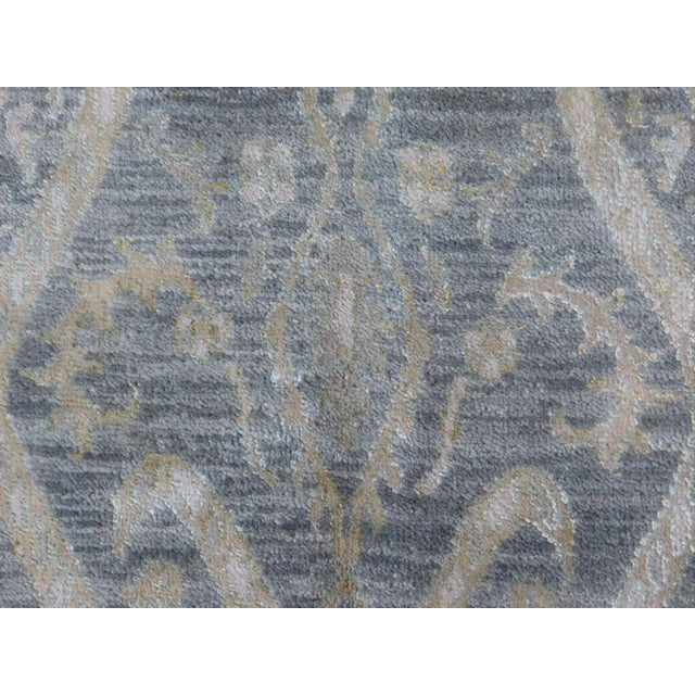 Blue Hand Knotted Indian Ikat Rug - 9′ × 12′ For Sale - Image 8 of 12