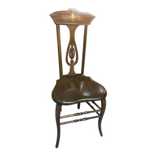 Late 19th Century Vintage Art Nouveau High-Back F. H. Conant's Sons Parquetry Chair For Sale