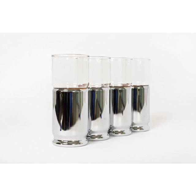 Mid Century Highball Cocktail Glasses With Silver Cork Liners For Sale - Image 11 of 11