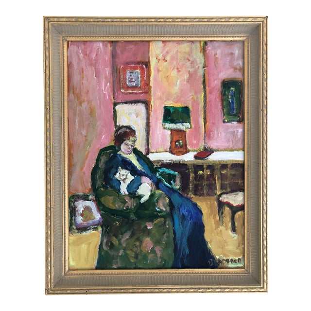 1980s Woman With Cat Oil Painting For Sale
