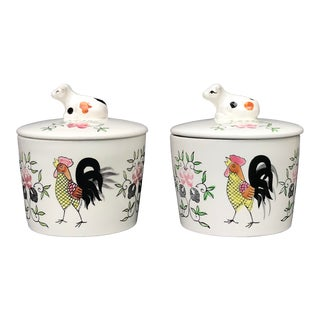 1950s Hand Painted Ceramic Cow & Rooster Lidded Jars - a Pair For Sale