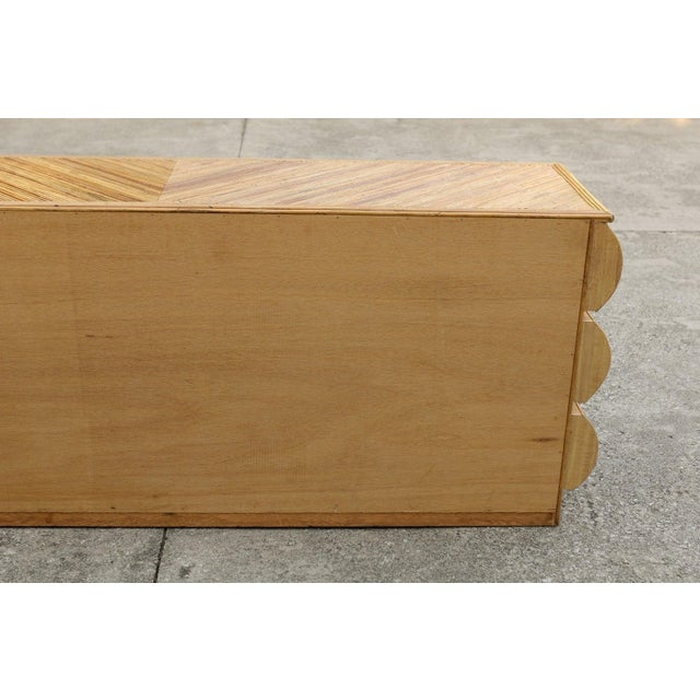 1980s Mid-Century Modern Bullnose Nine-Drawer Chest in Bamboo For Sale - Image 10 of 11