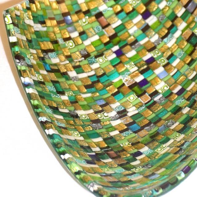 Green Modern Italian Jewel-Like Green Yellow & 24Kt Gold Murano Art Glass Mosaic Bowl For Sale - Image 8 of 11