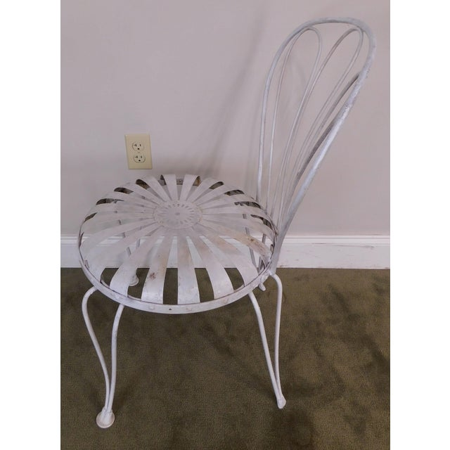 Metal Vintage Pair Painted Pinwheel Iron Garden Chairs After Francois Carre For Sale - Image 7 of 13