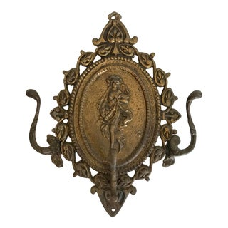 Early 20th Century Antique Bronze Triple Wall Hook For Sale
