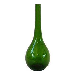 Large Seda Swedish Glass Green Bottle Vase For Sale