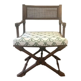 Vintage Campaign Style Green and White Caning Corner Chair