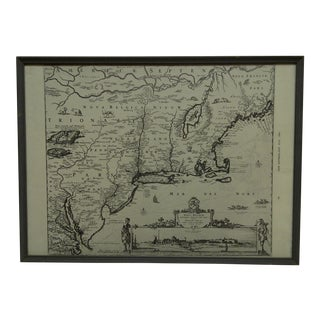 """1960s Framed Map of New Netherland """"Novibelgii"""" #34"""