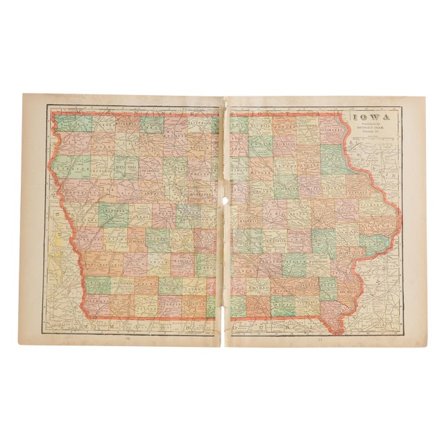 Cram's 1907 Map of Iowa For Sale