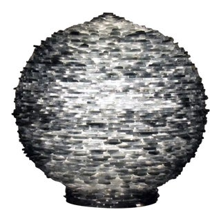 Large Cut Glass Art Round Lamp For Sale