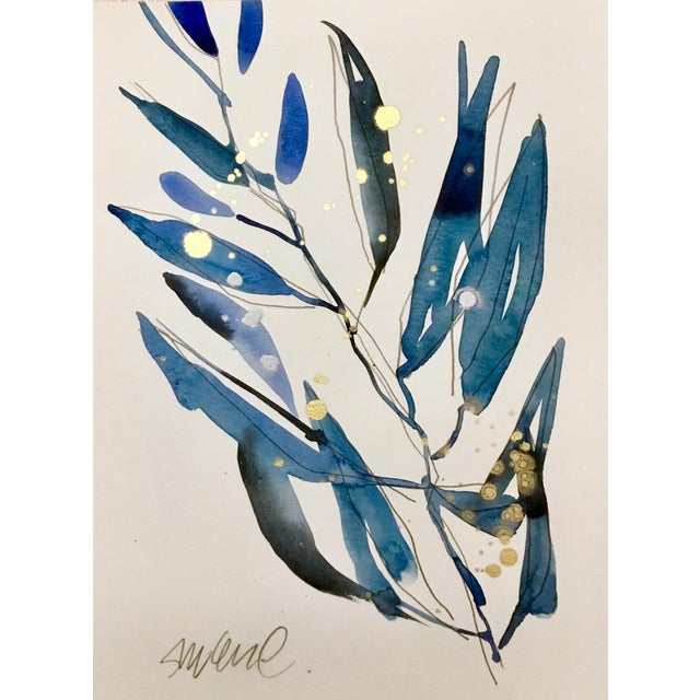 Expressionism Blue Grass 4, Original Watercolor With Gold. For Sale - Image 3 of 3