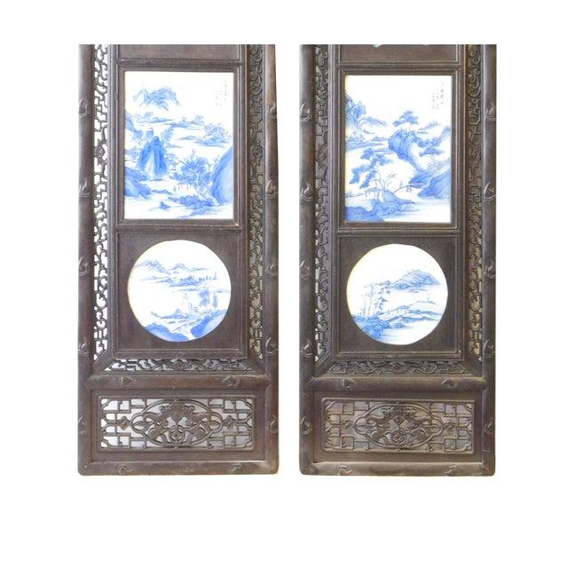 Blue/White Porcelain Wood Framed Wall Art - Set/4 - Image 5 of 9