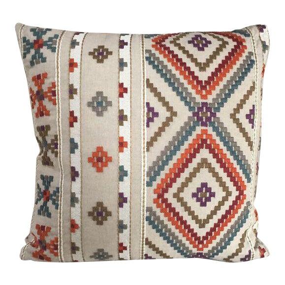 Kim Salmela Embroidered Multi Color Pillow For Sale