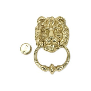 Italian Solid Brass Lion's Head Door Knocker For Sale