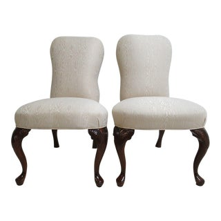 Knob Creek Queen Anne Shell Carved Head of the Table Dining Chairs - a Pair For Sale