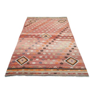 Mid 20th Century Turkish Sofreh Kilim Pale Red Rug For Sale