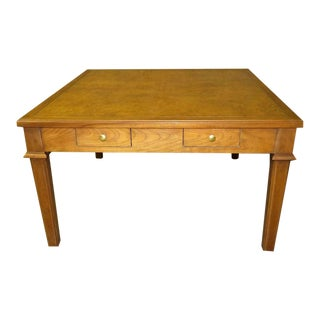 1960s Traditional Baker Four Drawer Square Coffee Table For Sale