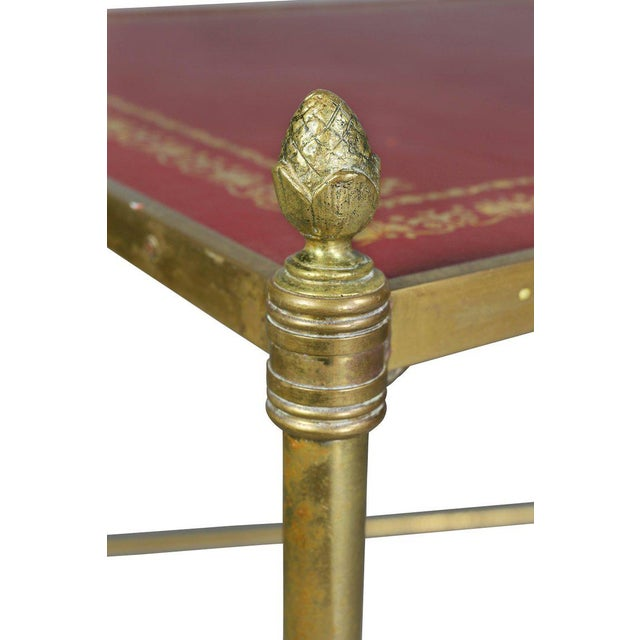 Directoire Style Brass and Leather Coffee Table For Sale - Image 4 of 10