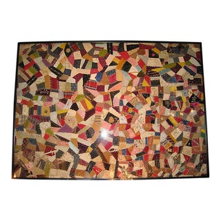 Antique Framed Velvet Quilt For Sale