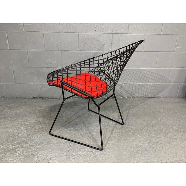 Metal Harry Bertoia for Knoll Mid-Century Modern Diamond Chair With Red Seat C. 1952 For Sale - Image 7 of 13