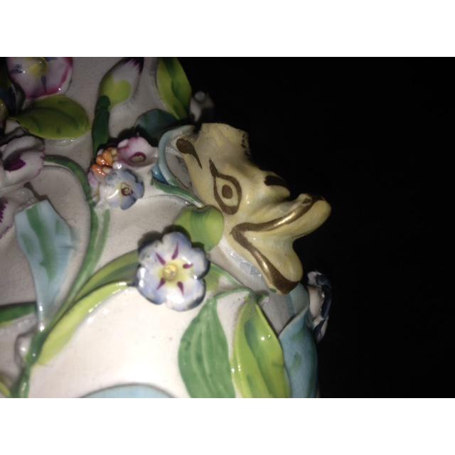 Antique Pastel Floral Porcelain Vase For Sale - Image 9 of 11