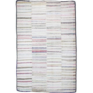 1960s Vintage Striped Turkish Rag Rug - 7′4″ × 11′2″